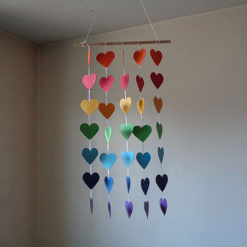 rainbow hearts hanging paper mobile baby nursery mobile crib mobile boygirl