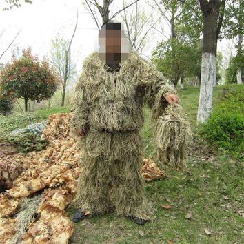 Camouflage Ghillie Suit Maple Leaf 3D Bionic PUBG Grass Secretive CS Airsoft Woodland Hunting Men Army Suit Cosplay Costumes