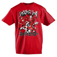 DC Comics Justice League Japanese Text Boys T-Shirt