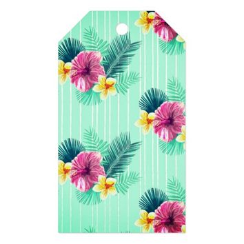 Cool blue base with pink floral texture gift tags