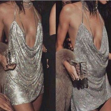 DCCKUH3 Sequined halter dress sexy backless nightclub party deep V