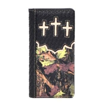 CAMO W046(DF) Camo CROSS Long Mens Wallet-Black