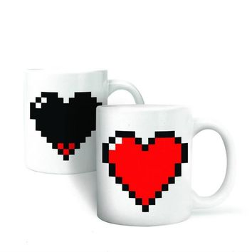Pixelated Heart Shape Coffee Mug