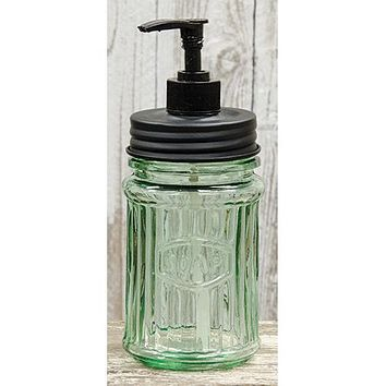 Green Glass Soap Dispenser