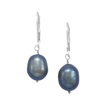 Cultured Freshwater Peacock Pearl Earrings with 14K White Gold Lever Backs