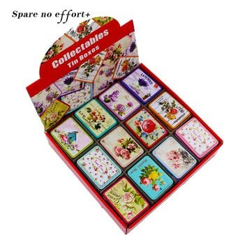 24Piece/Lot Small Tin Box Tea Mac Lipstick Organizer Makeup Storage Box Floral Picture Jewelry Case For Girl Candy Gift Box