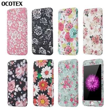 OCOTEX Flower Floral Matte Hard Case For iPhone 6 6s 7 Plus 5 5s SE 360 Degree Full Protection Phone Case+Tempered Glass Case