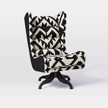 Cobb Swivel Wing Chair - Chevron