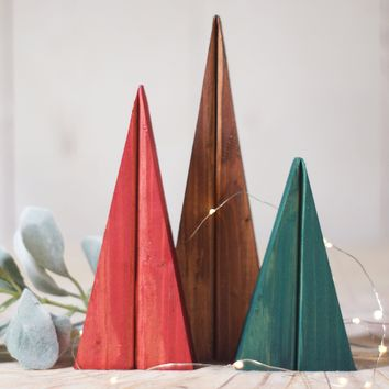 Colorful Christmas Trees, Wooden Trees