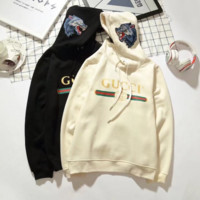 """Gucci"" Women Personality Logo Letter Wolf Head Pattern Embroidery Long Sleeve Hooded Sweater Tops"