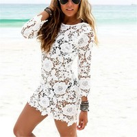Mini Dress Lace Beach Cover Up