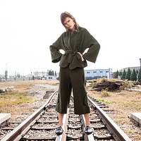 wool coat,wool jacket,military jacket,oversized coat,green wool coat,wrap coat,grunge coat,fashion coat,flare sleeve,with belt.--E0841