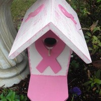 Birdhouse Breast Cancer Pink Ribbon by ABCbirdhouses on Zibbet