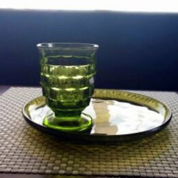 VINTAGE SNACK PLATE Set - Mid Century - Fostoria Whitehall Green Glass Serving set for 4- Cocktail or Juice Glasses and Appetizer Plates