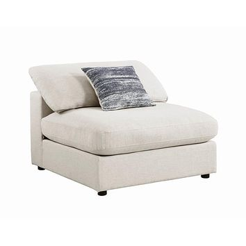 Serene Upholstered Armless Chair Beige by Coaster