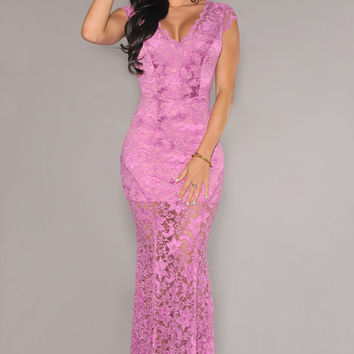 Short Sleeves Low Back Purple Floral Lace Evening Dress
