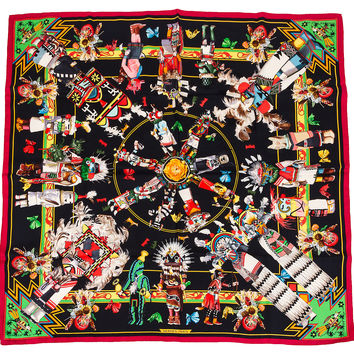 Hermès Rare Kachinas Tribal Silk Scarf