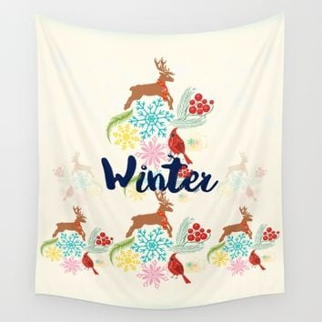 Winter Wall Tapestry by Famenxt | Society6