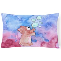 Bear and Bubbles Watercolor Canvas Fabric Decorative Pillow BB7347PW1216