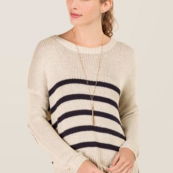 Ember Striped Suede Elbow Pullover Sweater