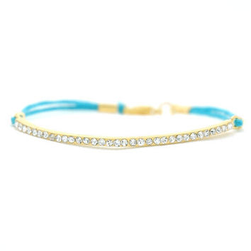 Gold Plated Elegant Bar Bracelet with Swarovski Crystals