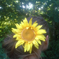 Big, Sunflower, Hair Clip, Hair Piece, Very Real Look, Natural, Huge, Sunshine, Bright, Yellow, Flower, Great for Summer, French Barrette