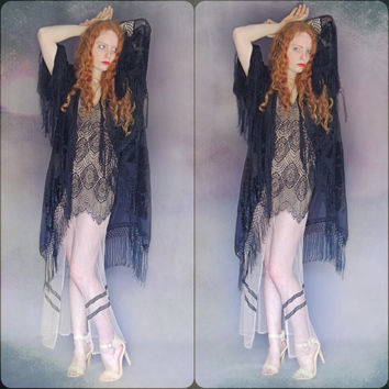 Silk fringed kimono / black sheer and velvet lace pattern duster /  Devore opera coat deco Gatsby Stevie Nicks style