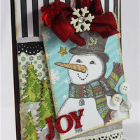 Christmas Handmade Card, Shabby Chic Card, Snowman Card, Christmas Greeting card