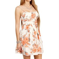 Ivory/Coral Floral Printed Cotton Dresses