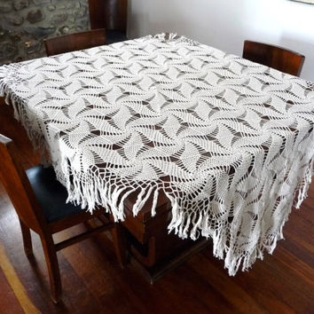 Crochet Tablecloth // Cotton - Handmade Vintage
