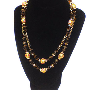 Vintage Hobe Beaded Necklace, Venetian Wedding Cake Beads, Brown Beads and Gold Chain, 1960s