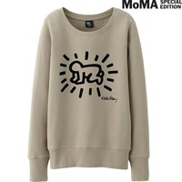 WOMEN SPRZ NY LONG SLEEVE SWEAT PULLOVER (KEITH HARING) | UNIQLO