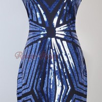 1920's Flapper Dress Great Gatsby Sequin Art Deco Blue Gold Black Party Club RR