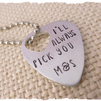 Choose your initials Hand Stamped Guitar Pick  I'll Always Pick You  Gift for Her  Gift for him  Customize with your initials  Relationship