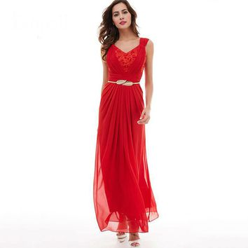 V neck dress red sleeveless ruched floor length dresses formal evening black lace pleated chiffon a line dress