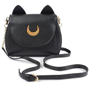 Girl's Sailor Moon Wallet Handbag Purse Pu Shoulder Bag Women Ear Chain D
