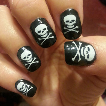 41 White SKULL and CROSSED BONES Pirate Goth Nail Art - Salon Results Waterslide Decals Not Stickers or Vinyl