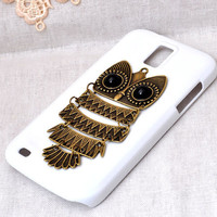 cell phone case for Samsung Galaxy s2 T-mobile T989 or sprint d710 or S4 i9500 protective cover with  bronze metal owl