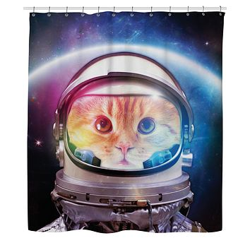 Space Cat Shower Curtain