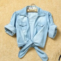 *Free Shipping Worldwide* Women Cute New Lower Hem Knotted Middle Sleeve Casual Jean Blue Jean Shirt Top One Size from efoxcity