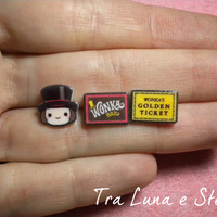 Earrings Willy Wonka, chocolate bar and golden ticket, Charlie and the Chocolate Factory, Tim Burton - kawaii, cute
