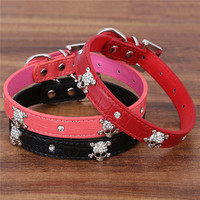 Bling Fashion Adjustable Pet Leather Collars Necklaces With Crystal Rhinestone Skull for Small Medium-Sized Large Dog Cat