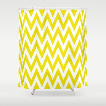 Chevronzag in Mustard Yellow Shower Curtain by House of Jennifer