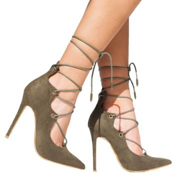ALAIAH LACE UP PUMP - OLIVE
