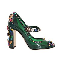 Green Transparent Crystal Studded Shoes