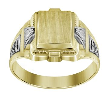 Men\'s Signet Ring in Solid 10k Yellow & White Gold