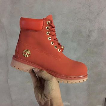 PEAPON Timberland Rhubarb Boots 10061 Red Waterproof Martin Boots