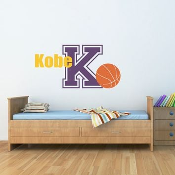 Basketball Decal with Name & Initial - Sports Wall Decal - Boy Bedroom Wall Art - Basketball Wall Decal - Large
