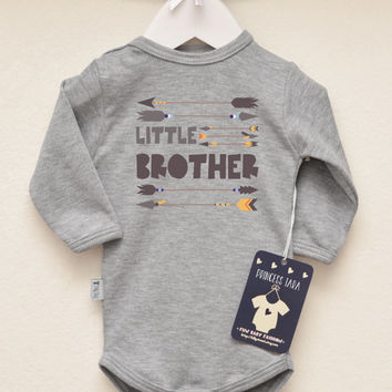 Baby Brother Outfit. Little Brother Infant Bodysuit with Tribal Arrows Print. Baby Brother Graphic Tee. Brother Shirt. Birth Announcement