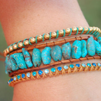 Tres Turquoise Leather Bracelet Set, 25 dollar savings